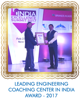 LEADING ENGINEERING COACHING CENTER IN INDIA AWARD - 2017 FROM BRANDS ACADEMY